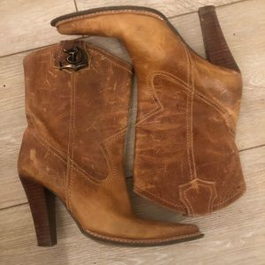 Boots heeled size 38 leather brown